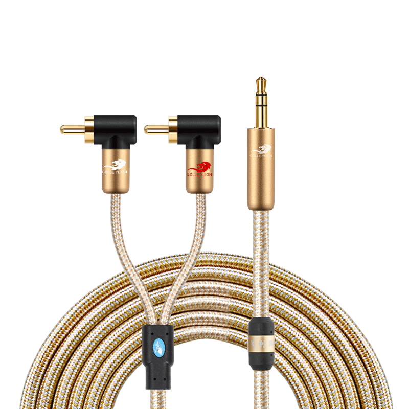 Professionele 3.5 Mm <span class=keywords><strong>Stereo</strong></span> Male Mini-Jack Naar 2 Mannelijke Rca <span class=keywords><strong>Plug</strong></span> Audiokabel