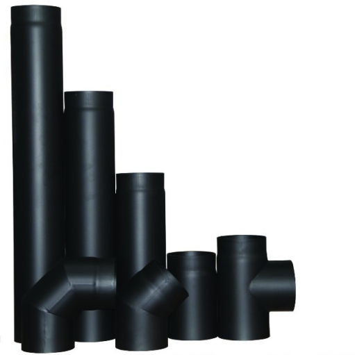 Black Carbon Steel chimney flue pipe for fireplace or wood stove