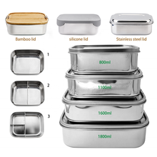 High Quality Square 304 Stainless Steel Seal Leakproof Food Container Bento Lunch Box