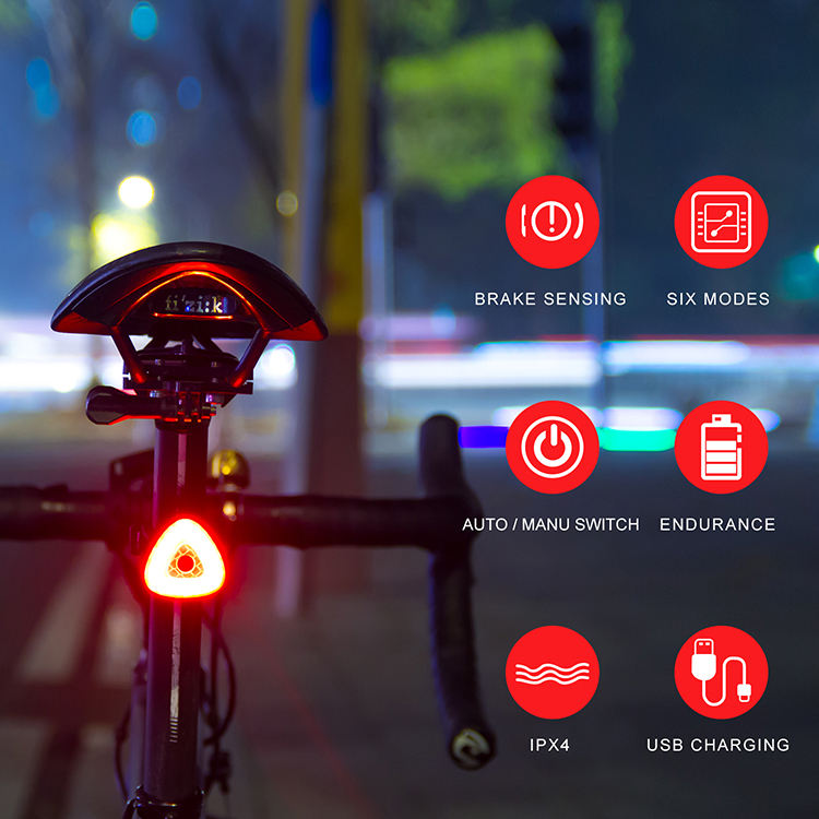 Usb recargable Led bicicleta cola luz linterna inteligente Sensor de freno de cola luces de carretera trasera Led bicicleta luces