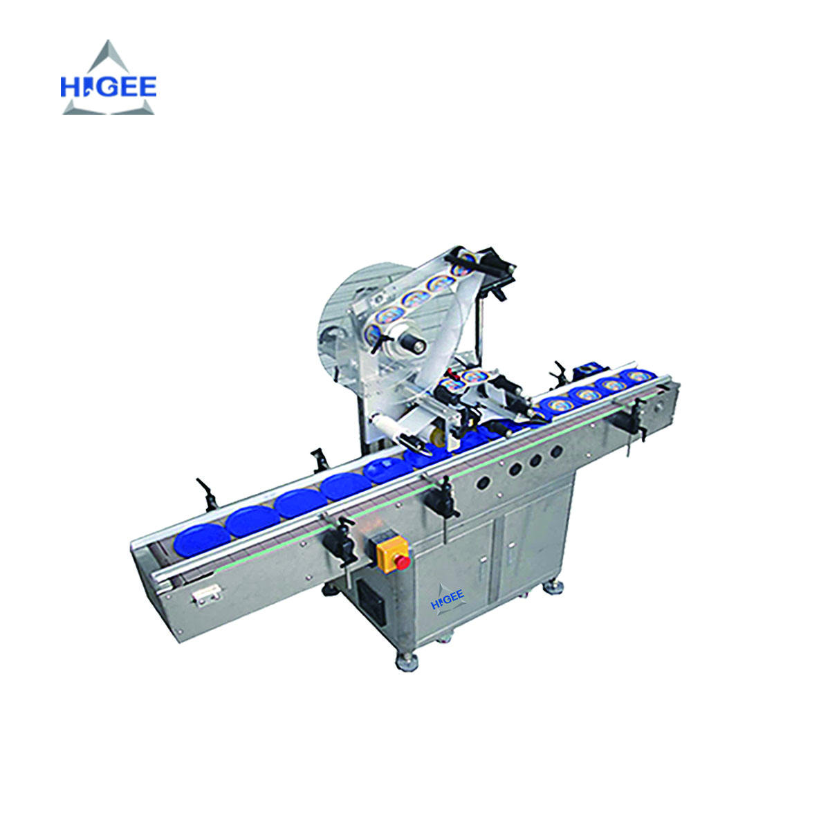 Automatic top size labeling machine HAP200 self adhesive sticker labeler on flat surface of box, bottle, card label applicator