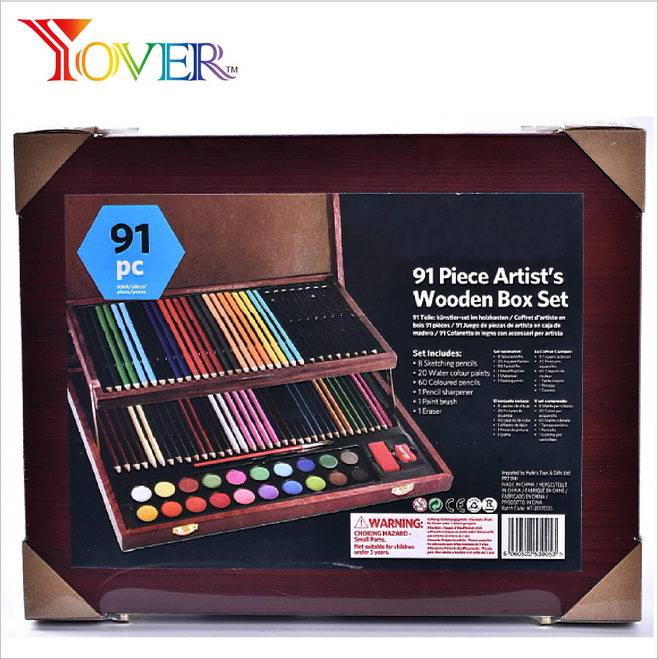 Water color pen artistic set 91pcs with wooden case packing Drawing and Art Set