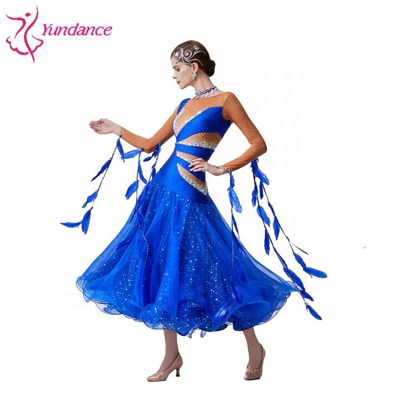 TALENT PRO Lace Milk Silk Big Hemline Modern Dance Waltz National Standard Tango Ballroom Salsa One Piece Costume