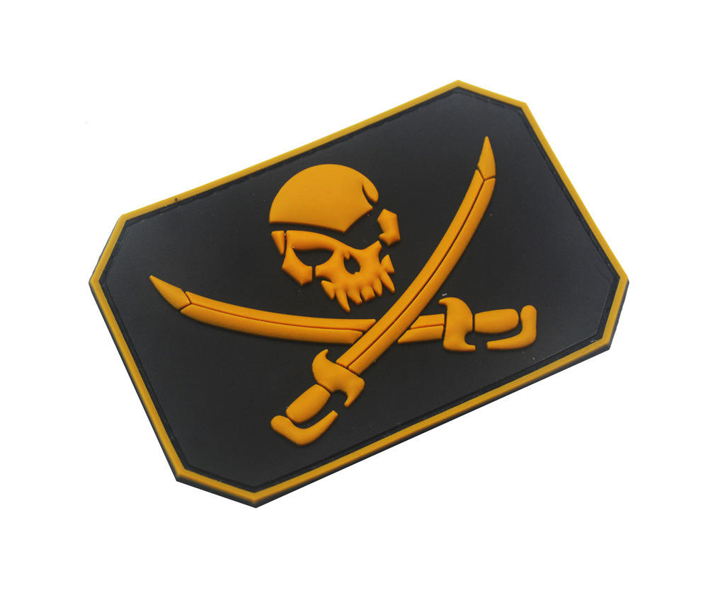 Jolly Roger Bandeira Remendo Calico Jack Pirata Do Crânio Patches PVC Velcro Remendo Tático de Combate Emblema Tático Jolly
