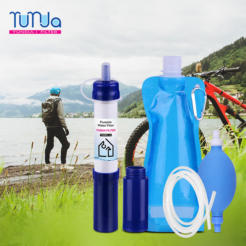 Personal Water Filter 1000L Mini UF Camping Water Straw 0.01 Micron Outdoor Survival Kit Emergency water straw filter