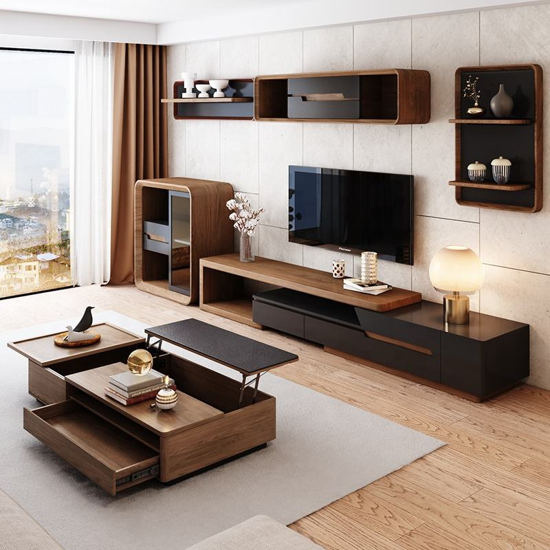 Modern Living Room Furniture Sets with Adjustable TV Stand and Storage Coffee Table