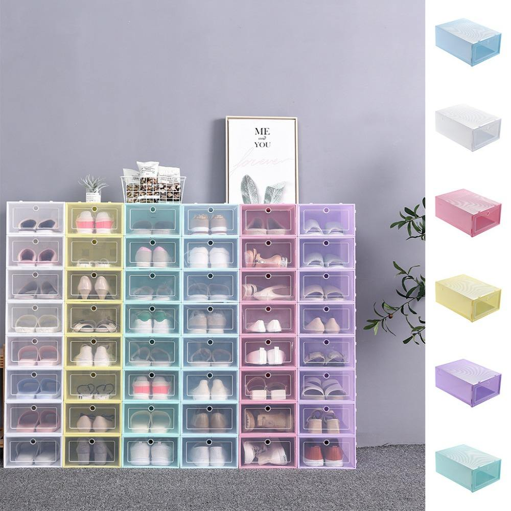 Foldable Clear Drawer Case Shoes Storage Box Plastic Stackable Shoe Organizer