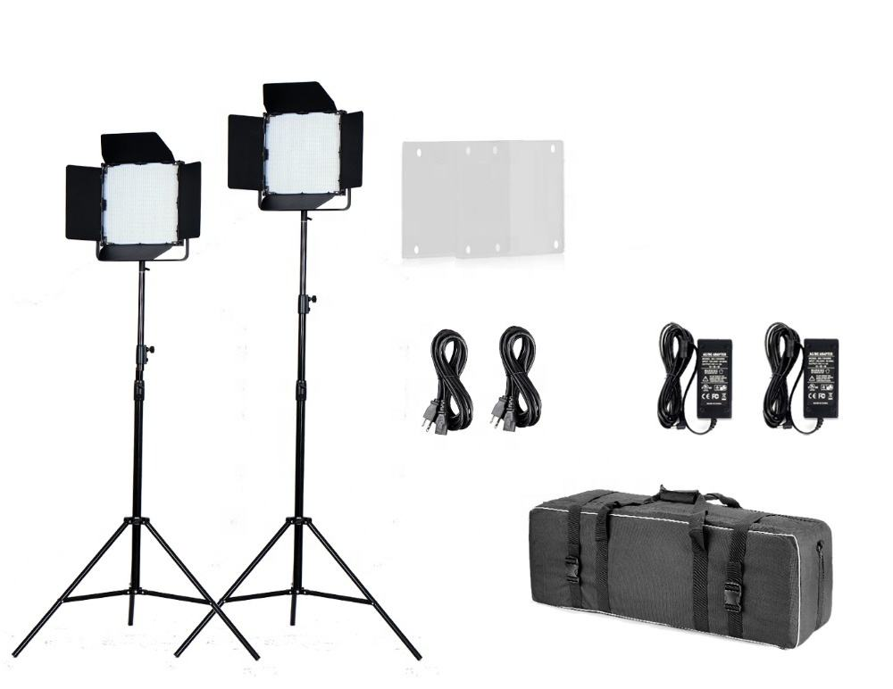 Cina Produsen Tolifo 1000 Bright LED Bi Warna Profesional LED Video Lighting Kit dengan DMX Control