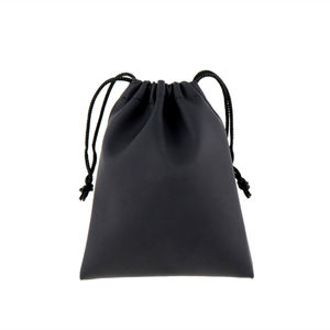Promotional Portable Small Waterproof Pu Leather Black Carry Soft Custom Black Pu Gift Pouch Leather Drawstring Bag