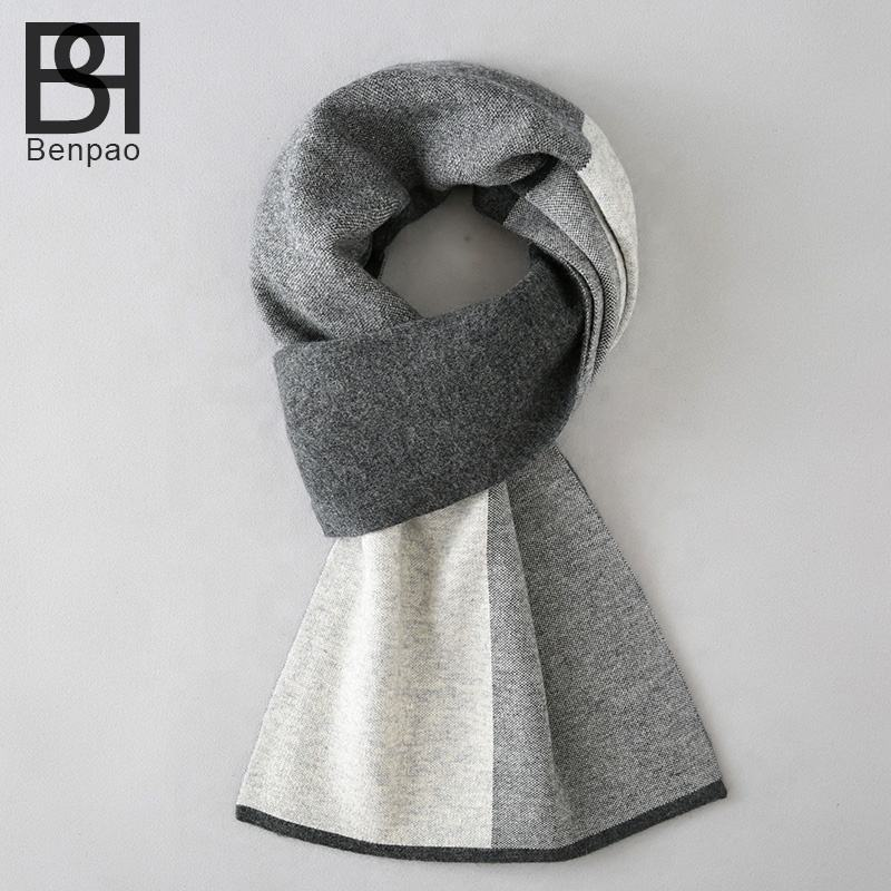 Casual classic checked mens wool scarf winter scarf long style
