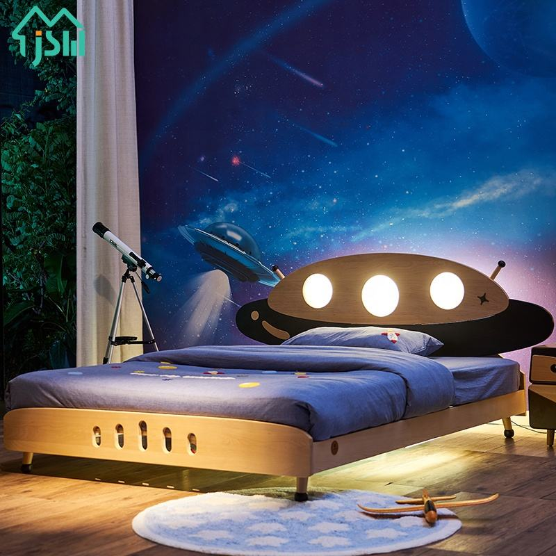 Kids Bedroom Solid Wood Children Beds with Bedside Floor Induction Led Light Adjustable Bed Lamp UFO Cartoon Beds