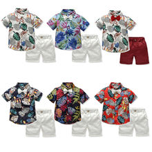 Fashion print shirt shorts summer beach wear children boy clothing set kids clothes