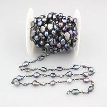 BD-E1565 Rainbow Pearl Beads Rosary Chains, Gunmetal Plated Natural Freshwater Pearl Beaded Zirconia Chains Findings