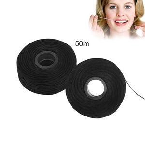 حار بيع أسود اللون 50m مثلث شكل لفة الخيزران الأسنان الخيط