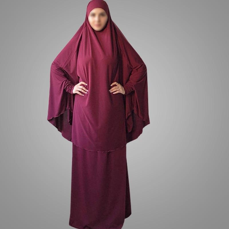 MXCHAN arab saudi two-piece prayer clothing jilbab 12 colors highly elastic model turkish jilbab muslim prayer dress