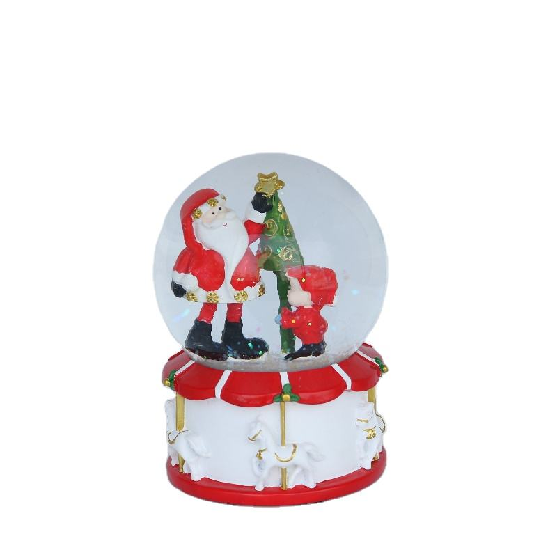 New style resin crafts snow globe santa and children snow music box light
