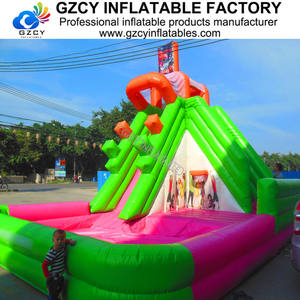 Commercial inflatable water park equipment / inflatable water slide with swimming pool for kids for sale