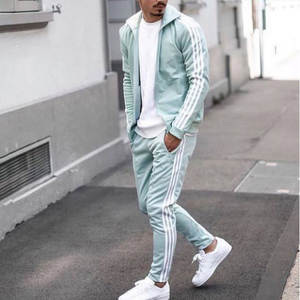 Manufacturer Wholesale Custom Plain Gym Tracksuit With Side Stripes 100% Cotton Mens Casual Light Green Sport Suit