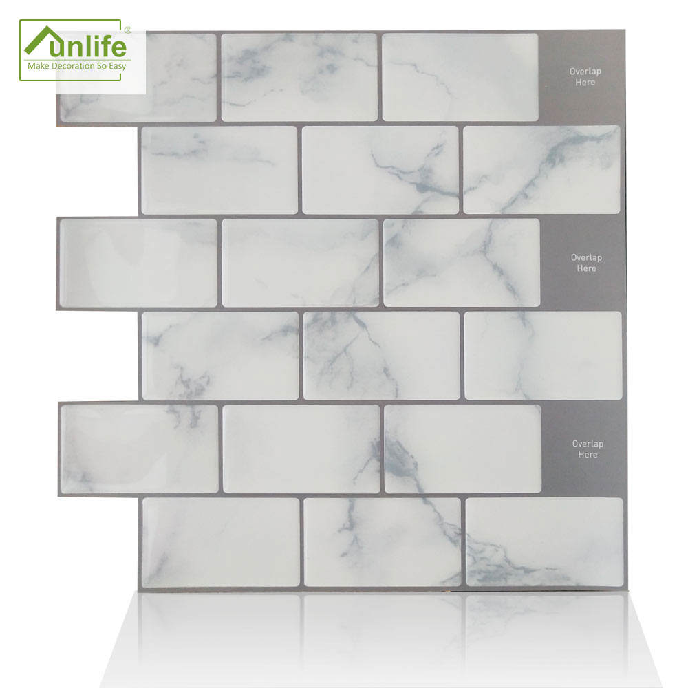 Funlife Design Eco-friendly Waterproof 30.5x30.5cm Peel & Stick White Marble <span class=keywords><strong>3D</strong></span> Texture Epoxy Brick Sticker für Home Decor DJ004XH