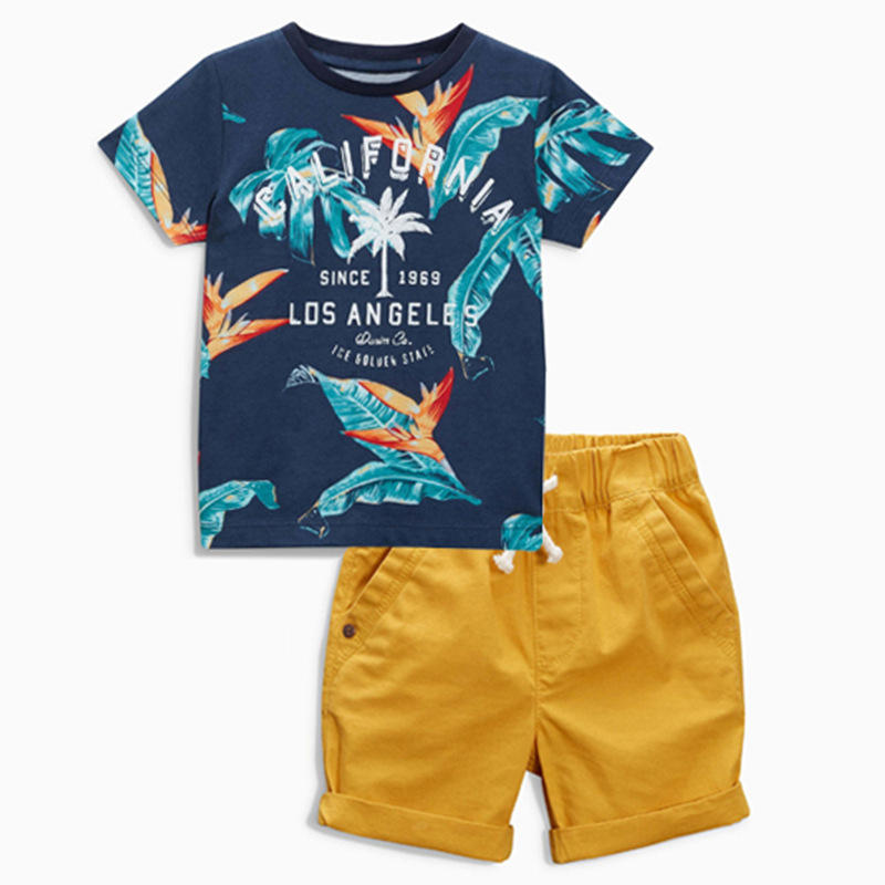 Wholesale kids clothing sets 2-7year casual wear boys outfits printed t-shirts short pants cotton children's clothing sets