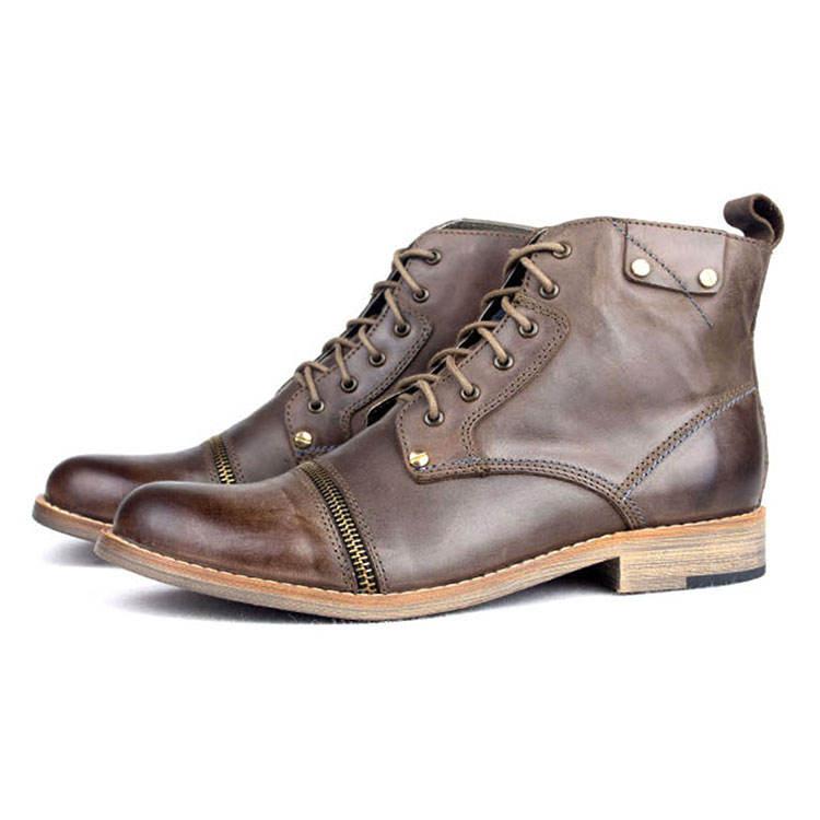 Haute qualité fabricant de chaussures en cuir de vache véritable col haut plat en caoutchouc semelle chaussures décontractées armée bottes de cowboy chaussures