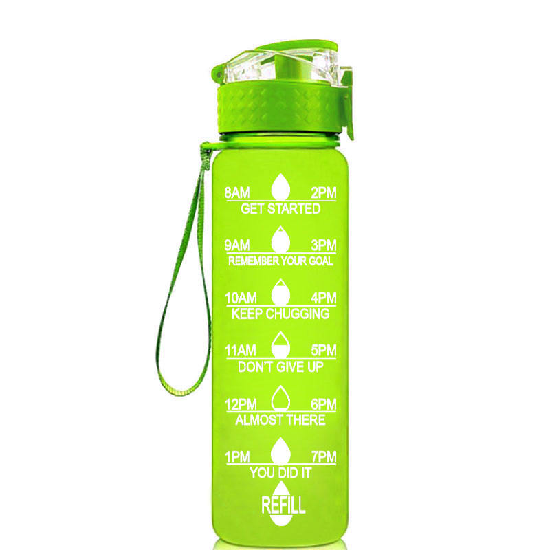 Non-Toxic BPA Free & Eco-Friendly Best Plastic Tritan Sports Water Bottle with Time Maker & Flip Top Lid 32oz