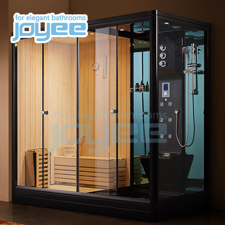 JOYEE Cheap factory price bathroom ozone spa sauna bath jacuzzi function massage showers function 2 person steam shower