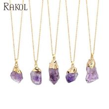 RAKOL Raw Amethyst Crystal Natural Purple Stone Quartz Pendant Amethyst Rock Necklace NN012