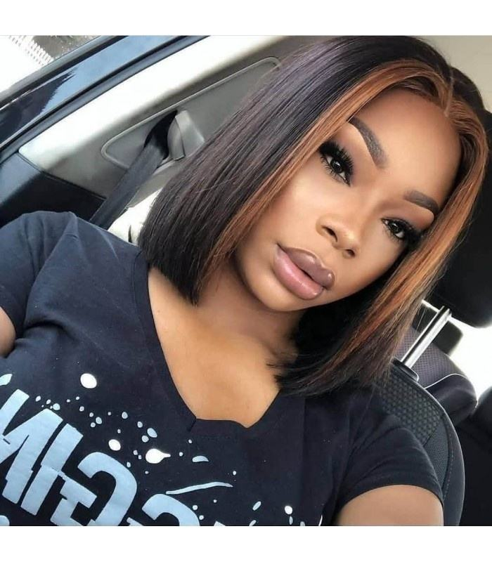 Front highlight P1B/30 ombre colored wig , cuticle aligned lace front bob wigs with baby hair