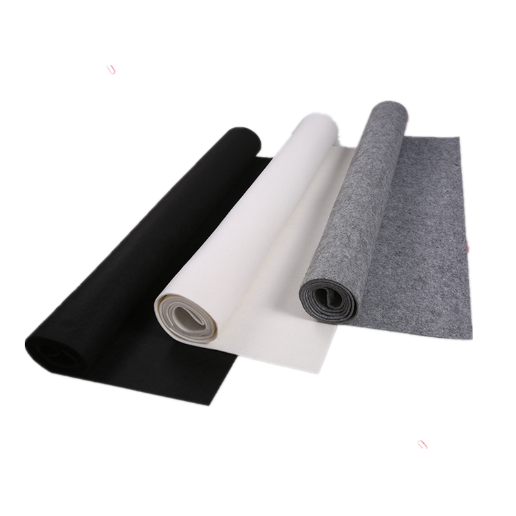 black white grey Oeko-Tex Standard 100 colors polyester handmade nonwoven recycled pet felt roll