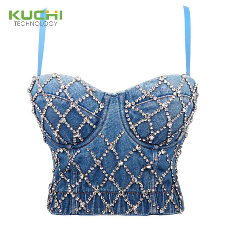 2020 Luxury Rhinestone Corsets Tops Women Sexy Lingeries T Shirts Tops Girls' Blouses Denim Jean Tops For Ladies