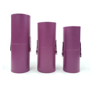 Pure color pu leather round box large capacity storage container brush tube box cosmetic brush cup holder