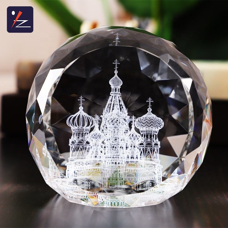 Fancy Diamond Facet Crystal Ball Vorm Graveren Decoratie