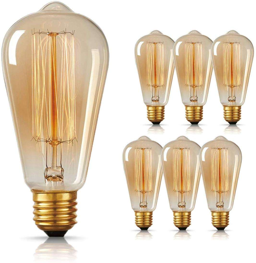 Bombilla Vintage Edison ST58 ST64, 25W, 40W, 60W, <span class=keywords><strong>incandescente</strong></span>, regulable, antigua