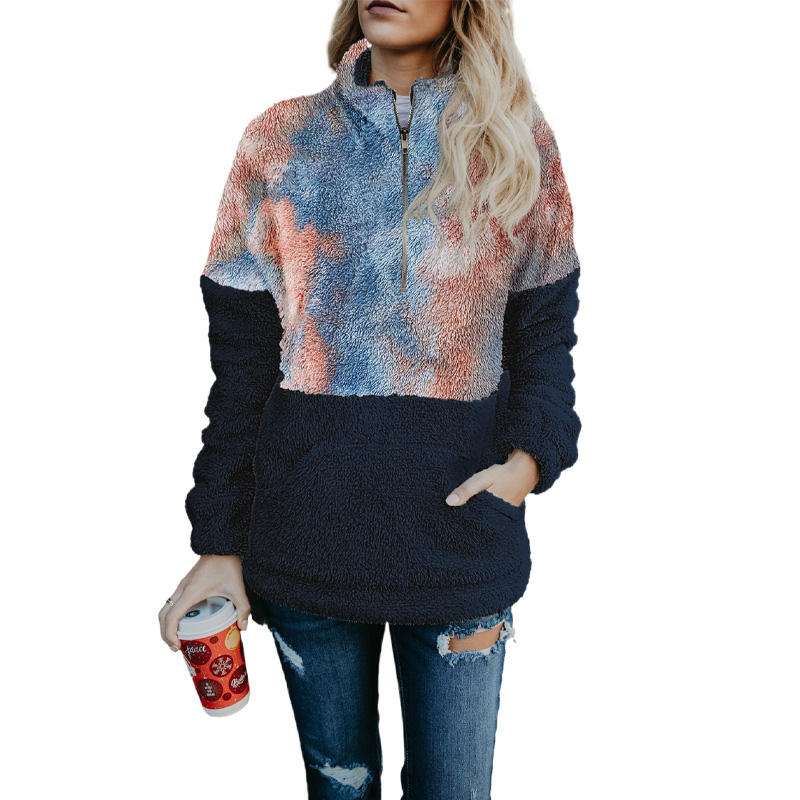 2020 New Fashion Tie-Dye Fluffy Fleece Half Zip Pullover Sweatshirt Winter Clothes for Women