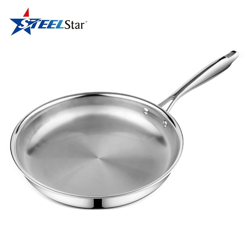 Tri-ply Stainless steel fry pan skillet Induction Compatible ss 304 saute skillet grill pans with Mirror polishing surface