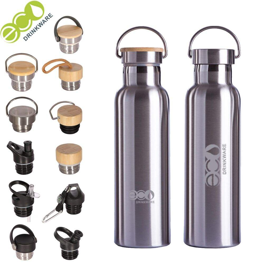 stocked Hot new novelty customized branded logo sport drink double walled stainless steel water bottle with bamboo lid