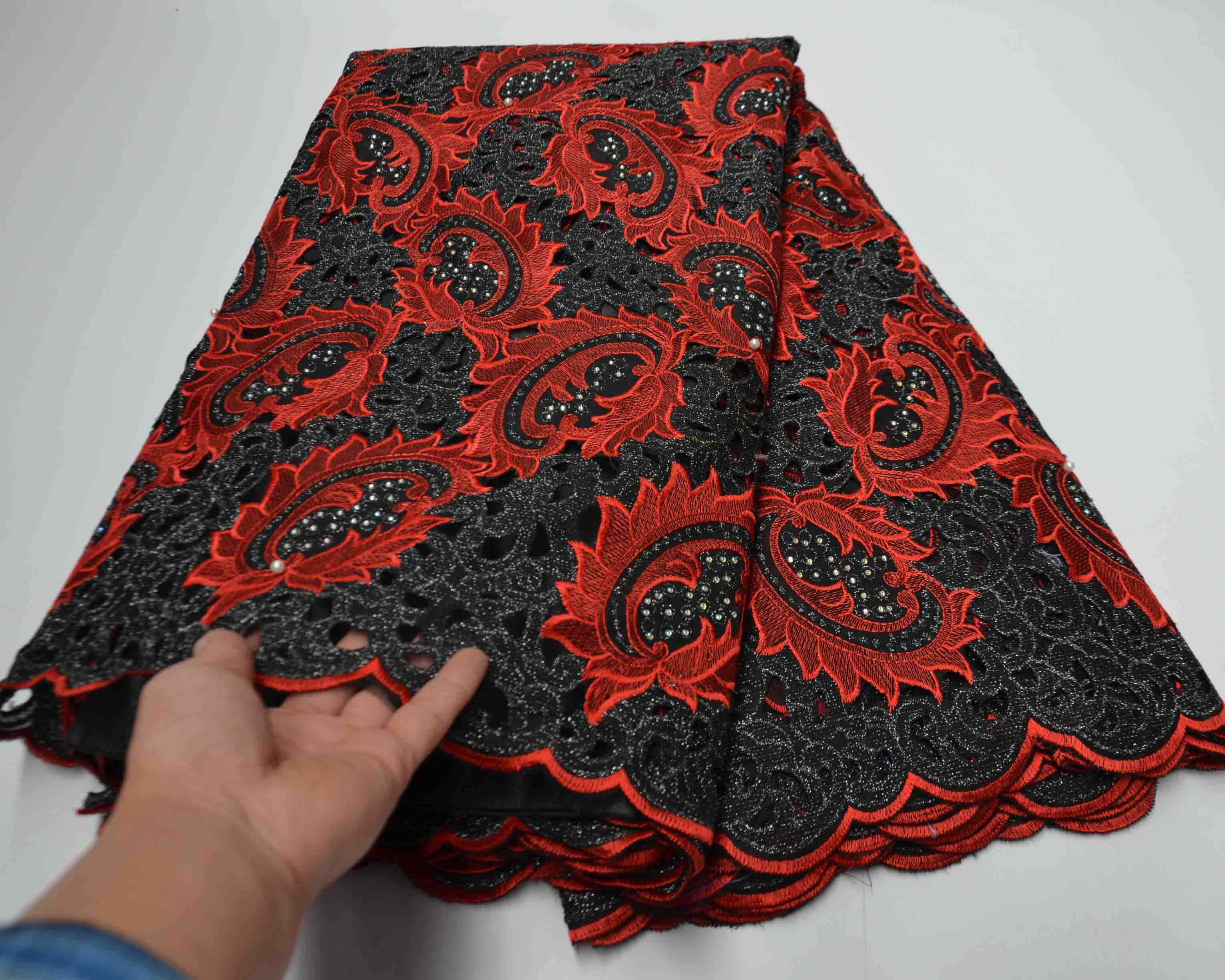 Red dry lace for men swiss voile manufacturers polish handcut african organza fabric