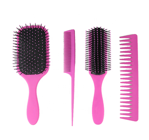 Hair Styling Tools 4PCS Barber Cutting Combs Hair Brush Comb Set Kit Anti Static Carbon Wholesale Pink Brush and Combs