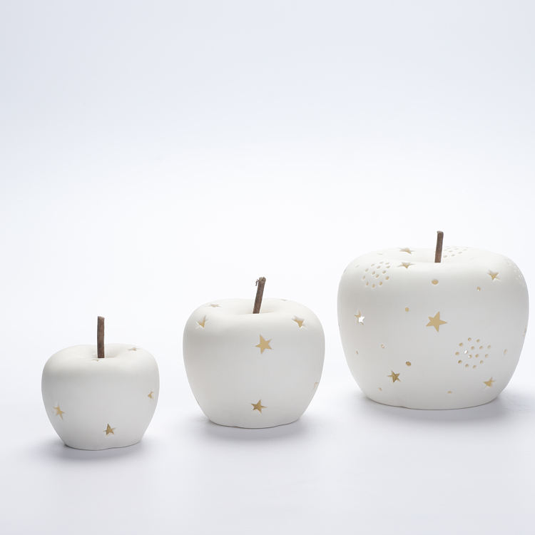 White Porcelain apple with star led night light christmas decoration ornaments