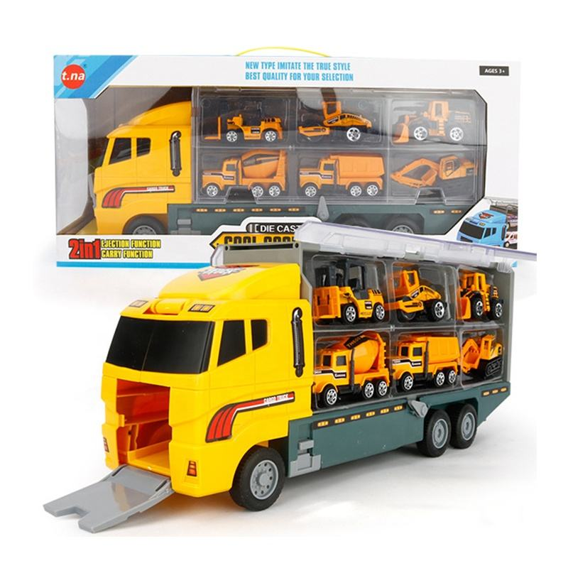 ON SALE!!! 12 in 1 Transport Car Die-cast Construction Set Play Toys Vehicles Truck Vehicles Toys Sets in Carrier