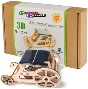 Perfect Kraft Wooden Solar Car Model Kits - DIY Educational Science Kits for Kids STEM Learning Building Toys- Creative Rob