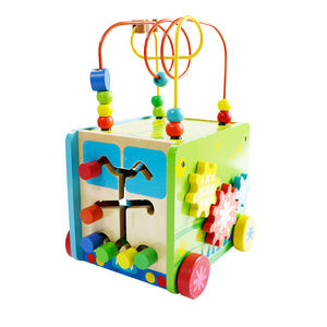 Intelligence Baby Blocks Match Shape Activity Cube with Bead Maze for child