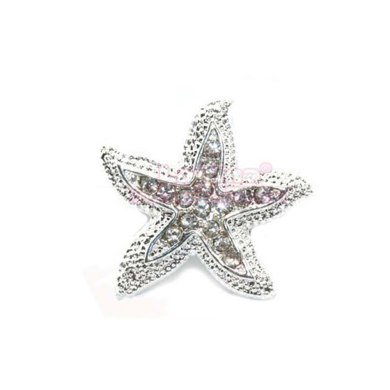 Silver Gold Clear Diamante Rhinestones Sea Sand Starfish Star Beach Pin Brooch