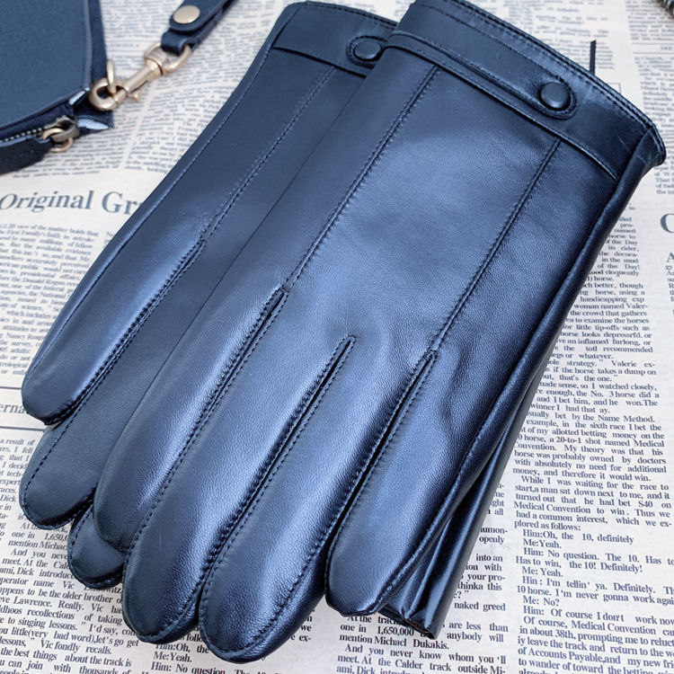 Winter men touch screen motorbike driving thin goatskin leather gloves