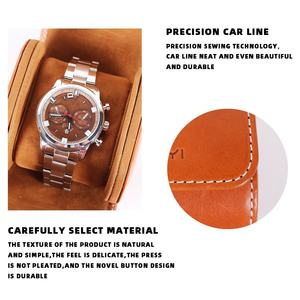 Bsci Factory Custom Luxury Mens Watch Display Packaging Box Slot Storage Bag Pouch Vegan Genuine Leather Travel Watch Case Roll