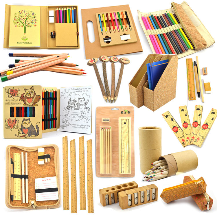 Wholesale top selling new product eco friendly wooden stationery set for students from china