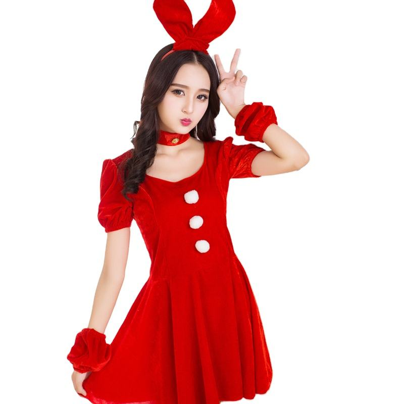 Adult Red Women Christmas Costume Party Dresses Sexy Santa Claus Costumes