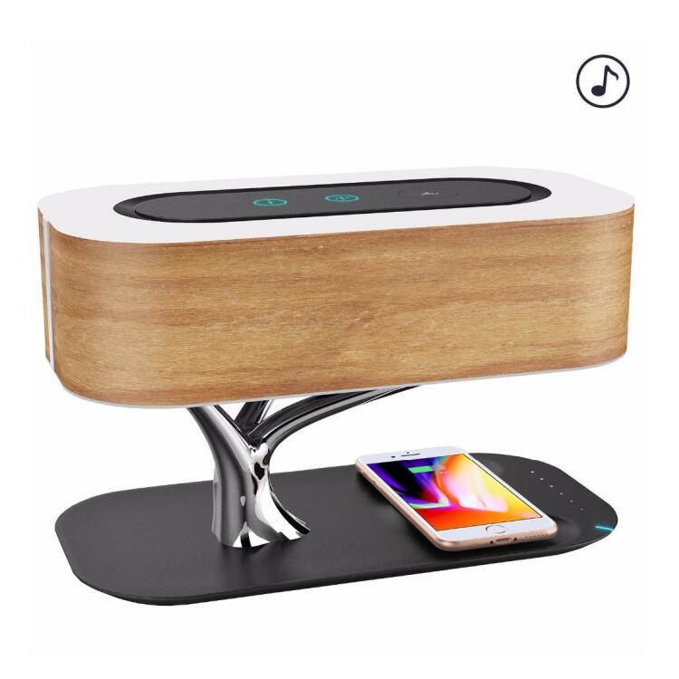 2021 latest gadget Light of the tree new technology fast wireless charger with speaker and bedside lamp