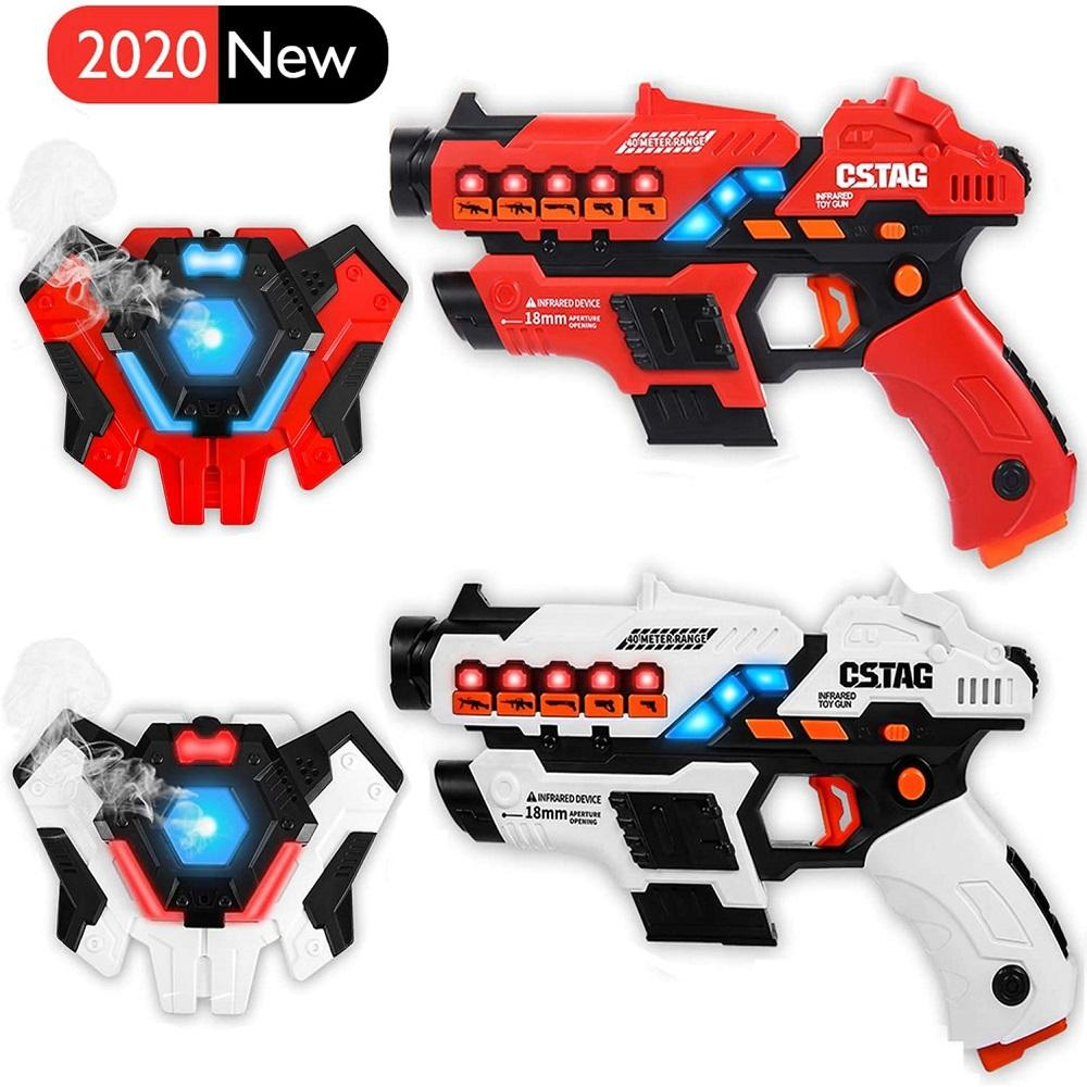 Outdoor Indoor Sport Group Activity Game 2 Sets Vests Multiple Weapon Vibrations Blaster Gunshot Laser Sniper Toy Guns For Boys